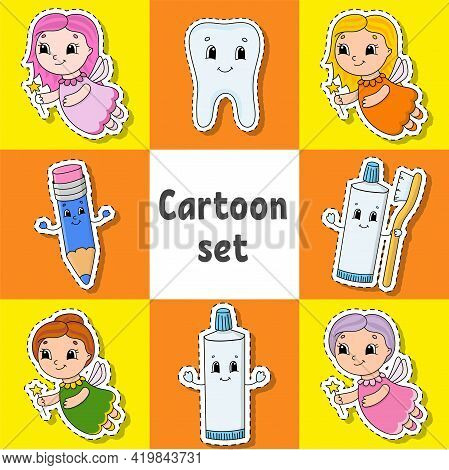 Set Of Stickers With Cute Cartoon Characters. Dental Clipart. Hand Drawn. Colorful Pack. Vector Illu