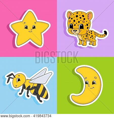 Set Of Stickers With Cute Cartoon Characters. Cute Clipart. Hand Drawn. Colorful Pack. Vector Illust