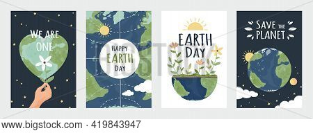 Earth Day Posters. Save Environment Concept. Holiday Of Protection Ecology And Nature. Hand Drawn Pl