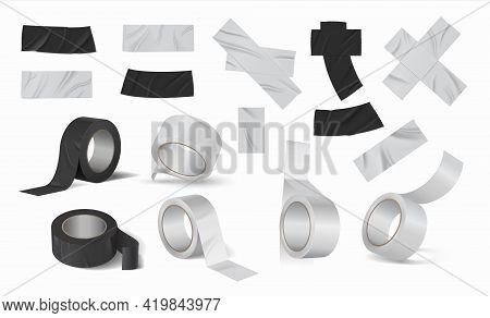 Duct Tape Rolls. Realistic Black And Silver Adhesive Ribbon. 3d Torn Pieces Of Sticky Scotch. Bandag