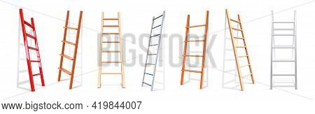 Realistic Stairs. 3d Staircase Lean On Wall. Isolated Construction Stepladder. Metal Or Wooden Ladde