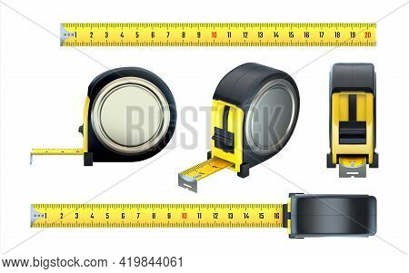 Measurement Tape. Realistic Construction Ruler, 3d Hand Builder Measuring Instruments Set. View From