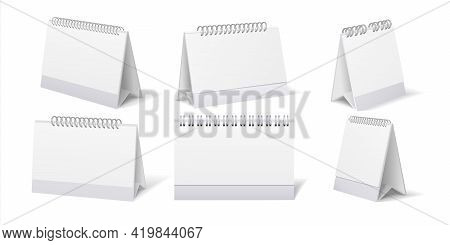 Desktop Calendar. Realistic Table Stand With Weekly Or Monthly Organizer. 3d Stationary For Branding
