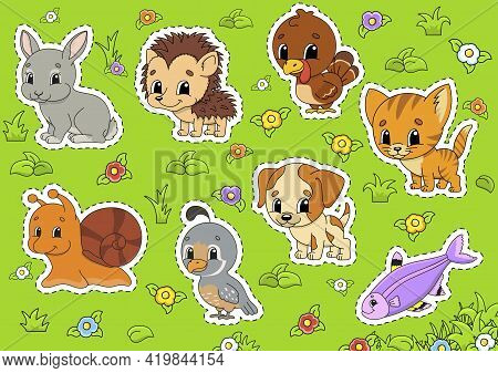 Set Animals. Cute Cartoon Characters. Pet Clipart. Hand Drawn. Colorful Pack. Vector Illustration. P