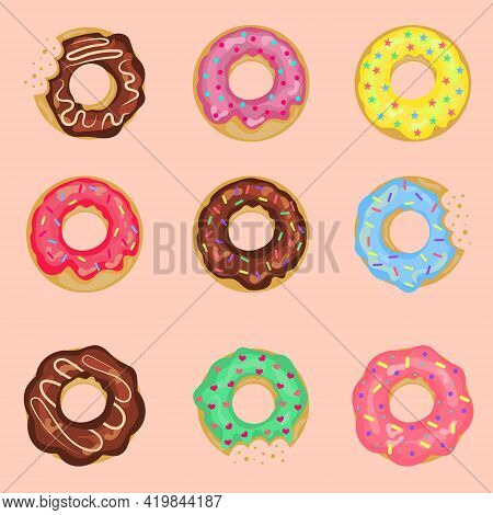 Set Of Sweet Donuts With Cream Isolated On A Pink Background. Cute Glossy Donuts With Pink, Chocolat