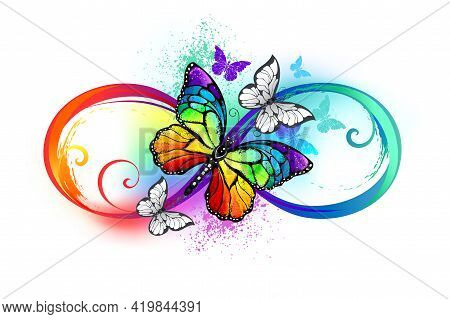 Multicolor, Bright, Rainbow Symbol Of Infinity With Rainbow, Detailed Butterfly Monarch On White Bac