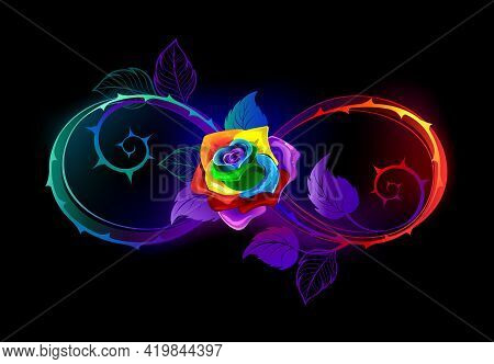 Rainbow, Glowing Infinity Symbol With Bright Thorny Stems And An Iridescent, Blooming Rose A Black B