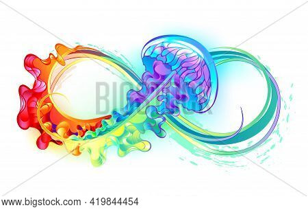 Multicolor Infinity Symbol With Rainbow Bright Jellyfish Decorated With Long Tentacles On White Back