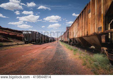Rusty trains on a rail yard in Utah, USA
