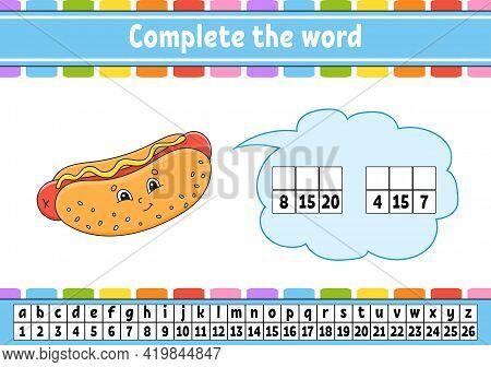 Complete The Words. Cipher Code. Learning Vocabulary And Numbers. Education Worksheet. Activity Page