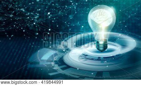 Light Bulb On Futuristic Technology Convergence. Idea Of New Idea With Innovative Digital Technology