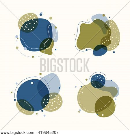 Set Of Abstract Trendy Graphic Organic Shape Elements Flowing Liquid Isolated On White Background. V