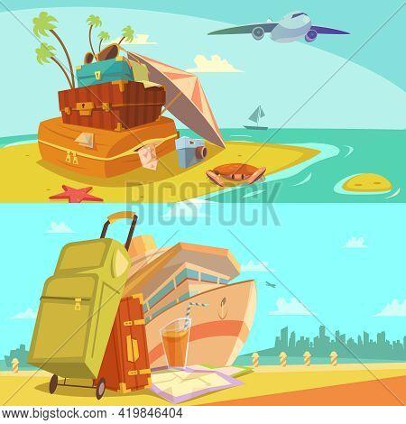 Travel Horizontal Banners Set With Voyage And Beach Resort Symbols Cartoon Isolated Vector Illustrat