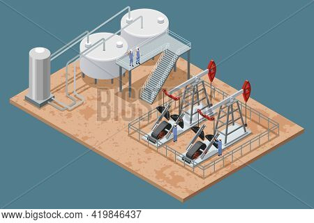 Oil Production Facilities And Equipment Isometric Poster With Platform Refinery Elements And 2 Pumpj