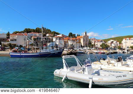 Tribunj, Croatia - September 6, 2016: This Is The Marina Of A Small Old Seaside Resort Town.