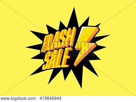 Flash Sale With Thunder On Yellow Background. Flash Sale Banner Template Design.
