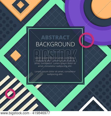 Geometric Abstract Graphic Design In Fresh Green Purple Yellow For Cover Title Notice Board Backgrou