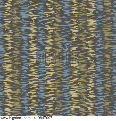 Fashionable Print With Abstract Pattern. Yellow, Dark Blue, Brown Colors Illustration. Seamless Prin