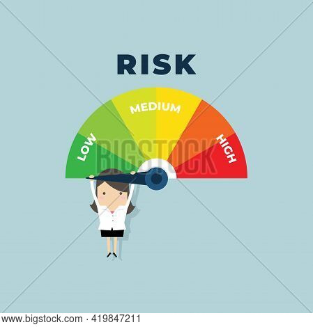 Businesswoman Hanging On A Risk Meter. Risk On The Speedometer Is High, Medium, Low.