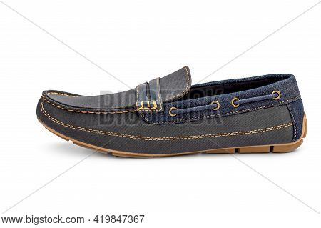 Men's Jeans Moccasin Isolated On A White.