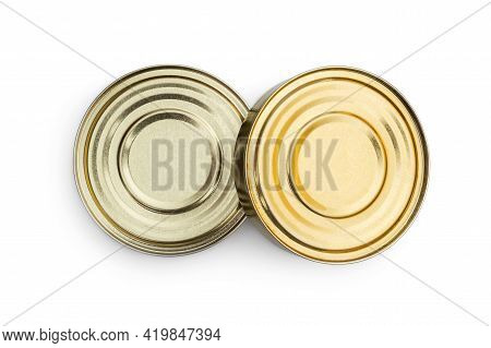 Closed Tin Cans Isolated On A White.