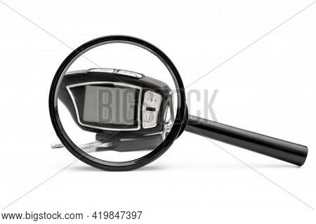 Magnifying Glass With Car Keys On White. Choice Car.