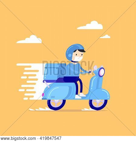 Food Delivery Man Riding A Blue Scooter, Courier In Respiratory Mask. Online Order And Food Or Produ