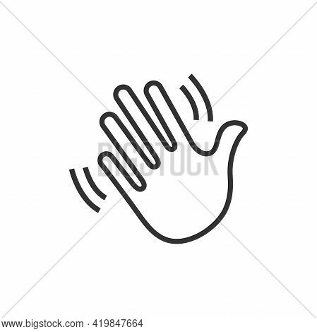 Waving Hand Gesture Icon. Waving Hand Gesture Vector Isolated On White Background.