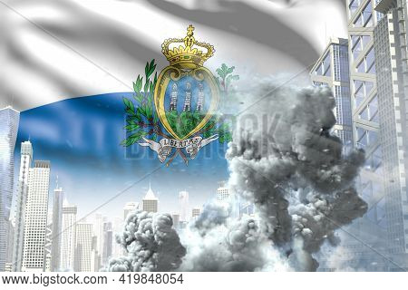 Big Smoke Column In Abstract City - Concept Of Industrial Accident Or Terroristic Act On San Marino