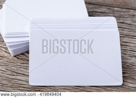 Mockup Of Business Cards Stack On Wood, Stack Of Blank Name Cards