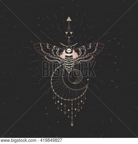 Vector Illustration With Hand Drawn Dead Head Moth And Sacred Geometric Symbol On Black Vintage Back