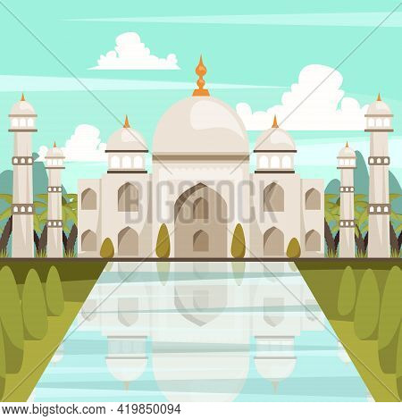 India Orthogonal Composition With Building Of Taj Mahal Mausoleum Reflected In Water Of Marble Pool