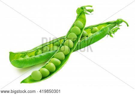 Green Peas. Fresh Peas  (pisum Sativum) Isolated On White  Background. Raw Legume, Pods, Beans Top V