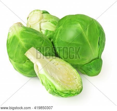 Brussel Sprouts Isolated On White Background. Fresh Raw  Brussels Cabbage Top View