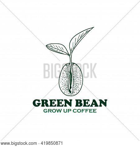 Green Bean Coffee Design Logo Vector. Green Bean Design Logo Restaurant
