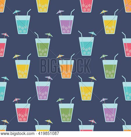 Colorful Beverage Glasses Seamless Vector Pattern. Multicolored Juice Or Cocktail Glasses With Umbre