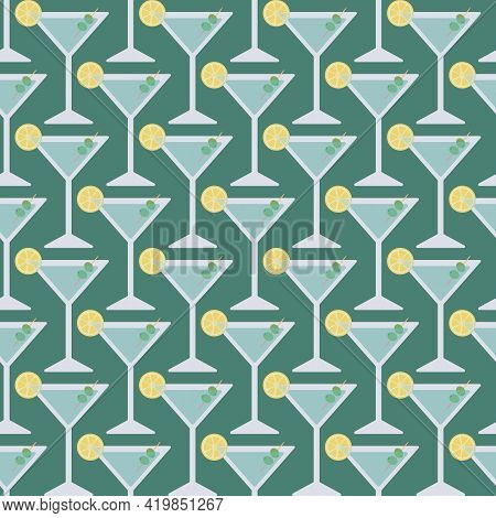 Trendy Martini Cocktails Seamless Surface Pattern. Vector Illustration Of Martini Glass Garnished Wi