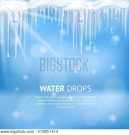 Abstract Blue Background With Water Drops Falling From Melting Icicles And Sun Lights Realistic Vect