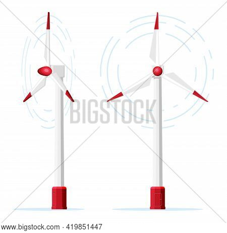 Wind Turbine Icon Isolated On White Background. Modern Windmill Symbol. Rotating Win Mill Concept. A