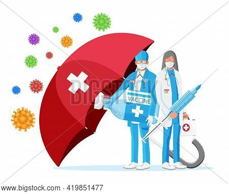 Vaccination Against Coronavirus. Time To Vaccinate, Concept. Medical Syringe Injection Vaccination.
