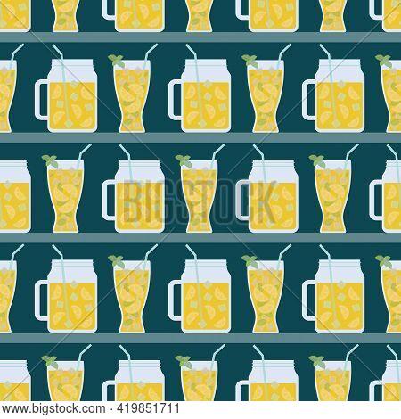 Seamless Pattern With Mojito In Glass And Masonjar