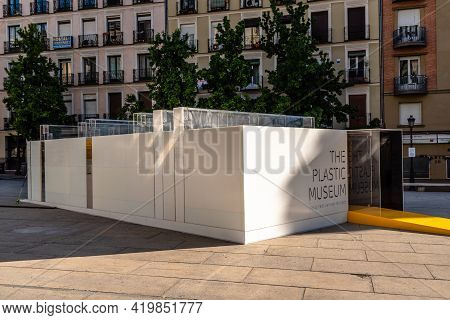 Madrid, Spain - May, 8 2021: The Plastic Museum In Juan Goytisolo Square Besides Reina Sofia Museum