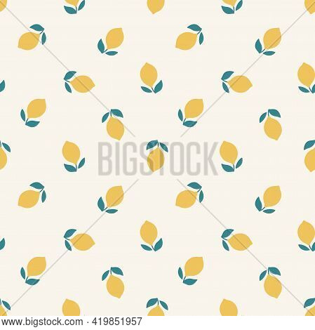 Lemons Colorful Seamless Pattern. Lemon Print Design For Fabric Or Paper.