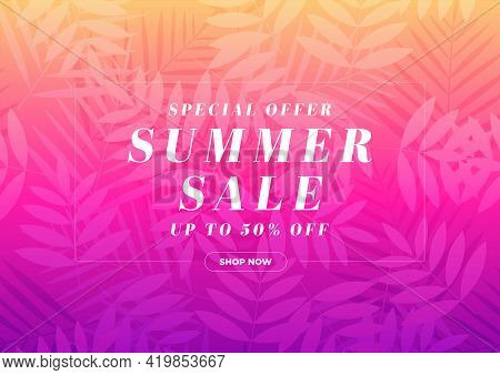 Special Offer Summer Sale 50 Percent Off Banner. Tropical Gift Voucher, Discount Coupon Template.