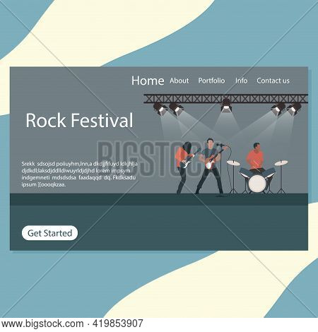 Rock Festival Landing Page, Stage Of Rock N Roll And Punk Metal, Rock Band Perfomance In Nightclub.