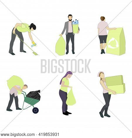 Woman Man Collect Waste And Garbage, Pick Up Trash In Packet. Illustration Cleaning Garbage And Tras