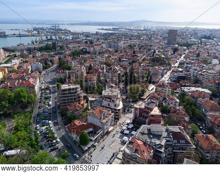 Aerial View Of Town Of Burgas, Bulgaria.