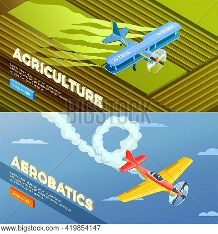 Airplanes Helicopters Isometric Banners Set With Read More Button And Images Of Agricultural And Aer