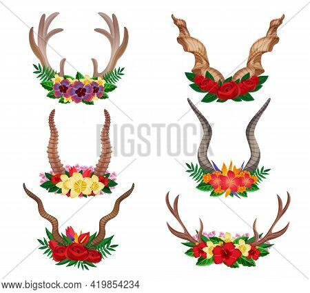 Wild Animals Dear Mountain Goat Moose Ornamental Floral Horns Set Decorated With Flower Arrangements