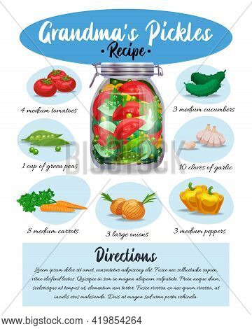 Grandma Pickles Marinade Colorful Pictorial Recipe With Ingredients Written Instructions Culinary Ap